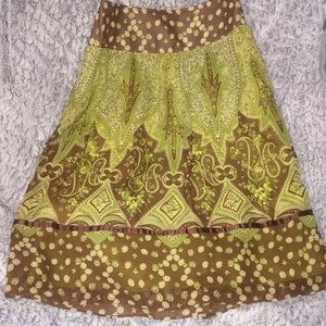 Banana Republic Silk & Sheer Green & Brown Skirt
